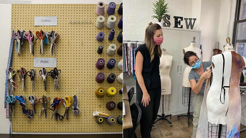 New York Sewing Center founder Kristine Frailing and one of her employees design one of their clothing creations.