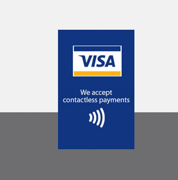 Decal with Full-color POS Graphic followed by 'We accept contactless payments' with contactless indicator logo under text.