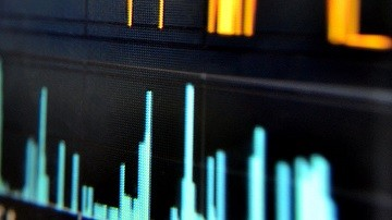 Closeup of part of a bar graph on a computer screen.