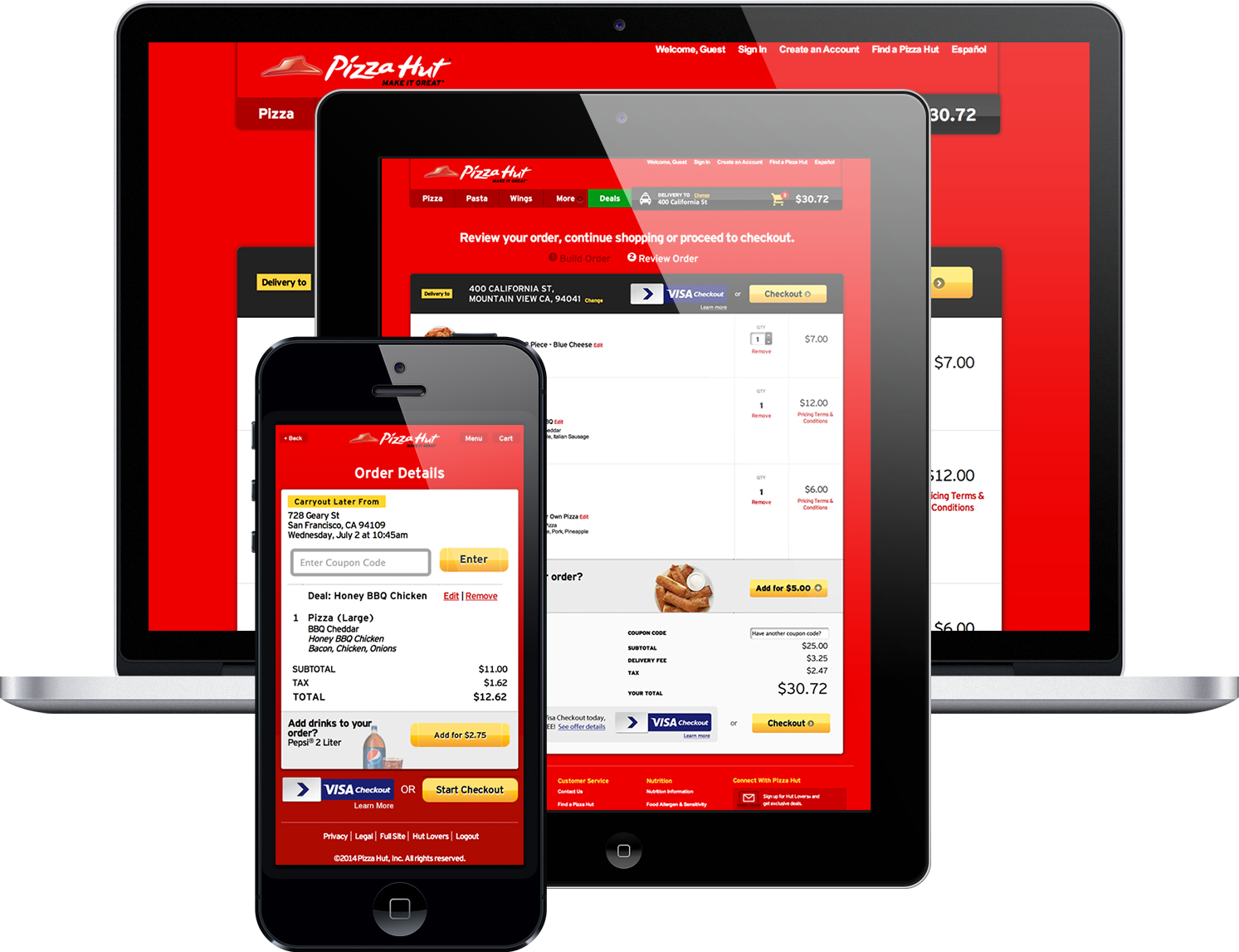 A smart phone, tablet, and laptop displaying a Visa Checkout option on the Pizza Hut website.