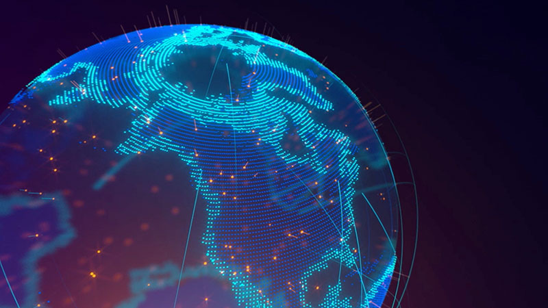 Computer graphic of the earth shows data flowing across the Northen Hemisphere with blue lines.