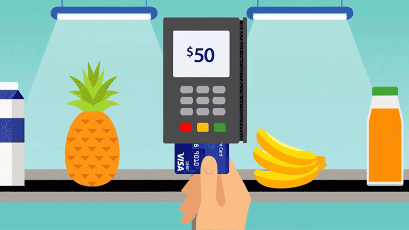 Illustration of hand dipping prepaid card in POS terminal at grocery store checkout