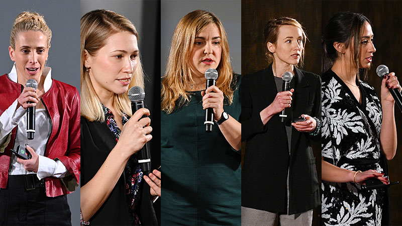 Collage of 5 images of women holding microphones and presenting on stage