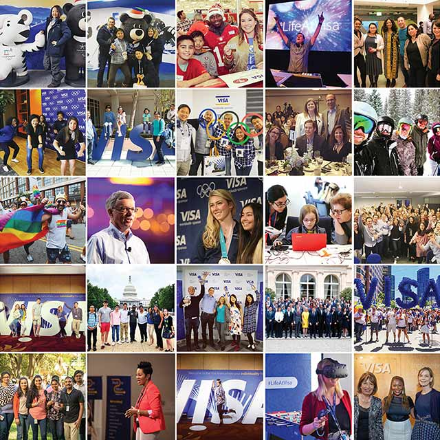 Grid of images of employees doing various activities at Visa