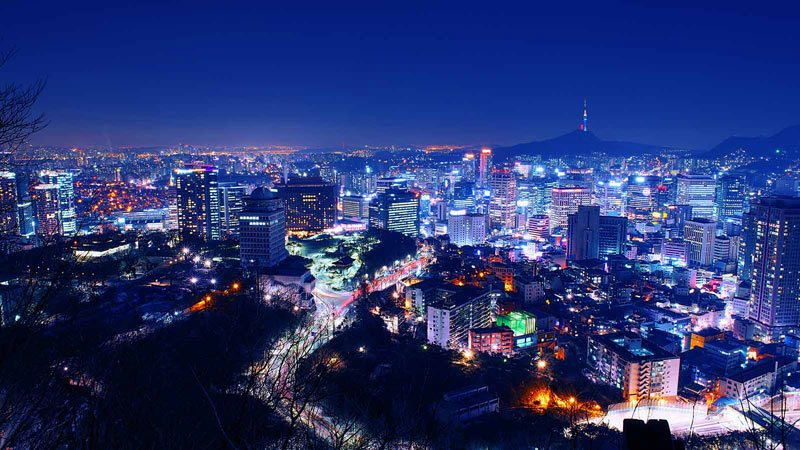 Seoul, Korea skyline.
