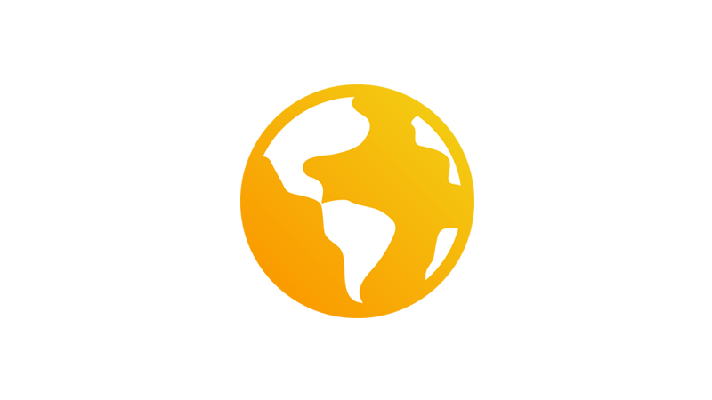 yellow icon of globe