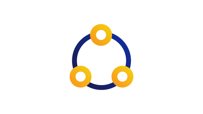 Illustration of three circles with a bigger circle connection them.
