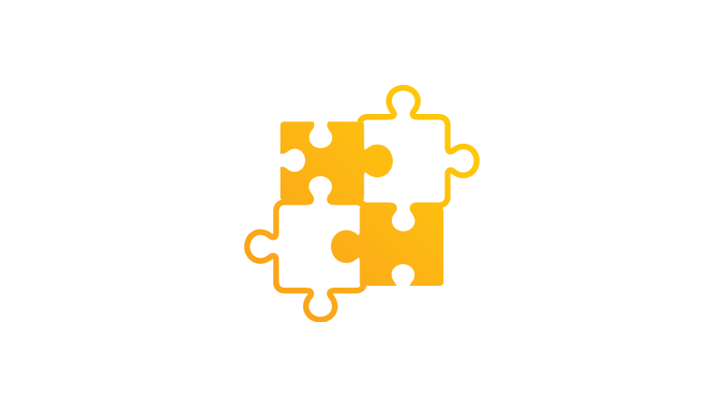 Icon of four puzzle pieces fitting together