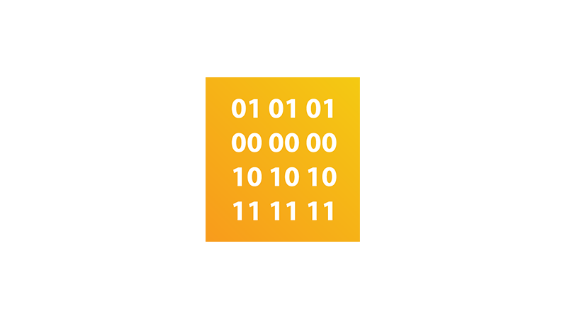 Illustration of binary numbers inside a yellow square.