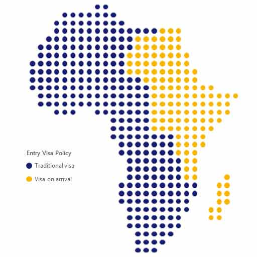 A map of Africa entry Visa policies. Please see image description below for more details.