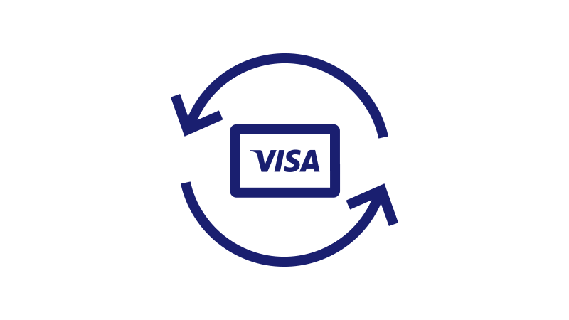 Visa card circled with reverse arrows.
