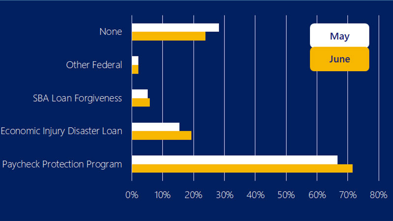 Bar chart showing the majority of small businesses received financial assistance. See image description for more information.
