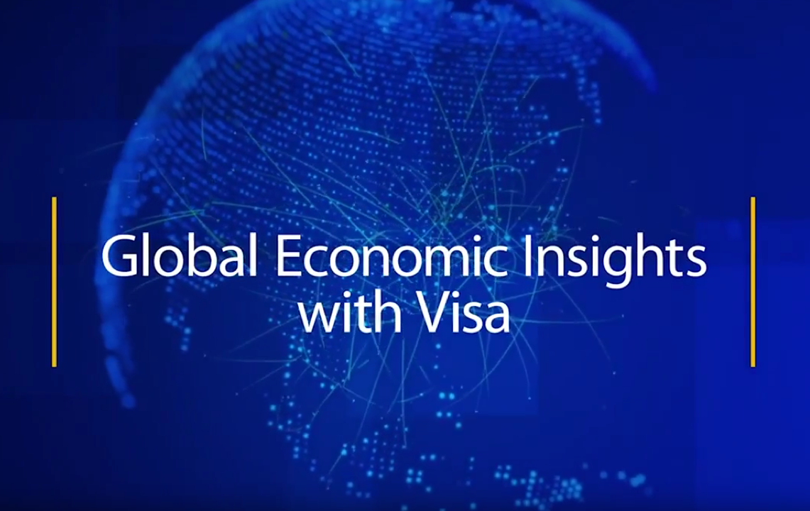 Blue illustration of a planet overlaid with the title Global Economic Insights with Visa.