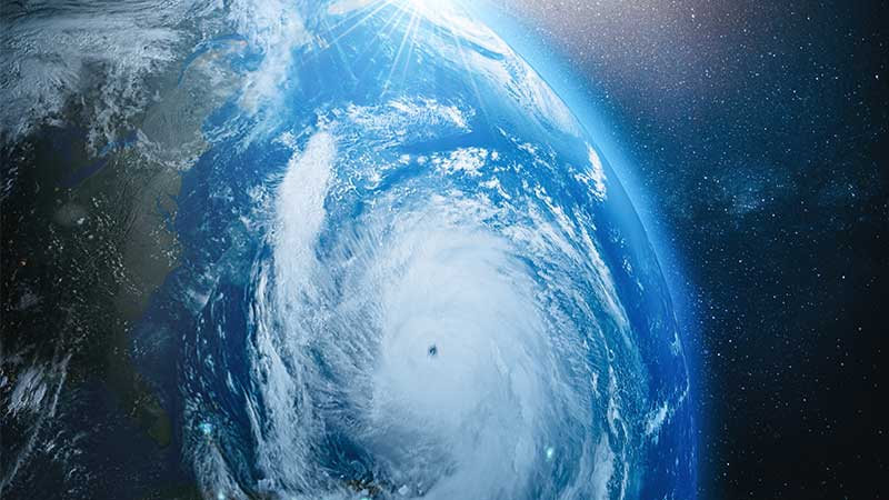 Stock image showing eye of hurricane storm.