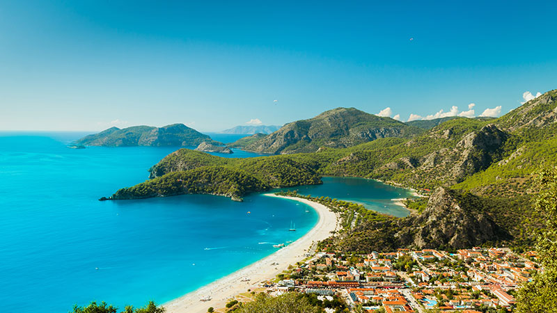 Wide shot of coastal beach in Turkey.