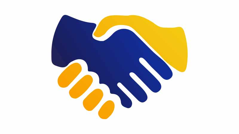 Illustration of a blue and yellow hands shaking each other.