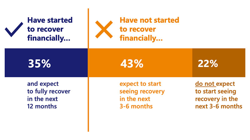 Bar chart showing the range of recovery among small businesses. See Image description for more details.