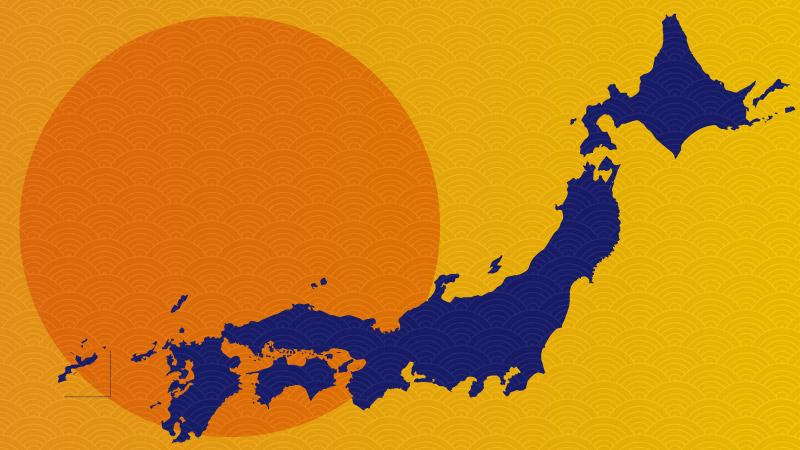 Map of Japan against an orange sun.