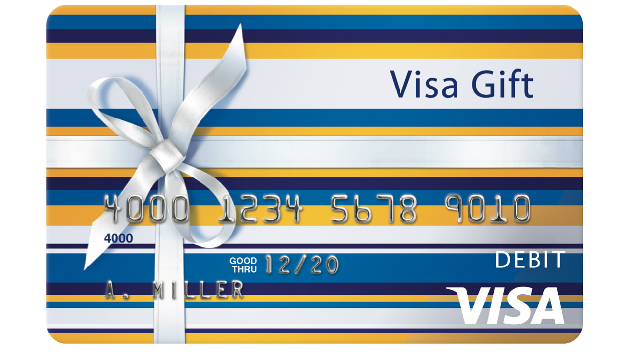 Visa Prepaid Gift Card with image of a bow