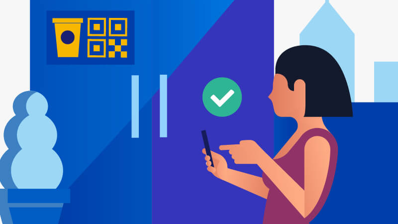 Illustration of a female consumer standing in front of a coffee shop and using her mobile phone to pay her order online.