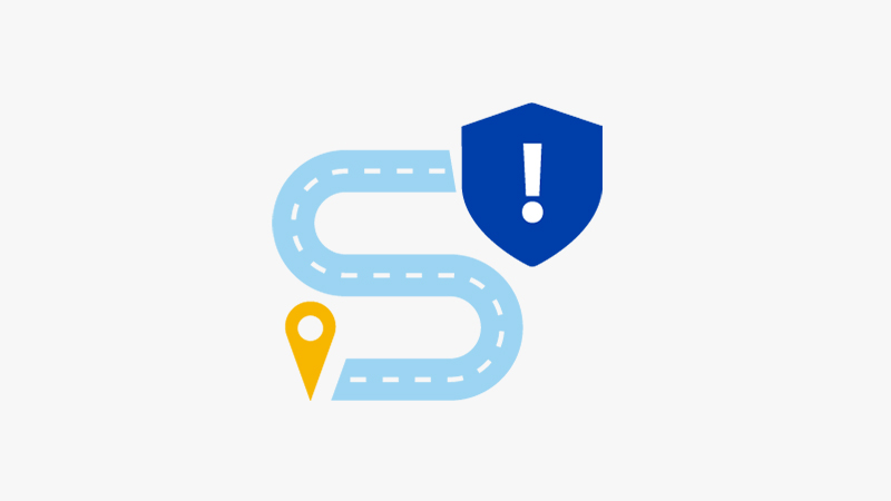 Illustration of a security roadmap showing twists and danger.