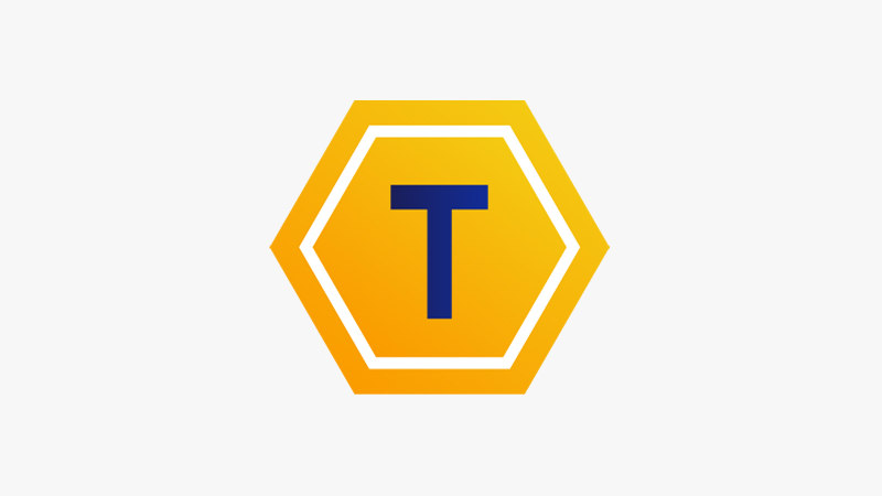 Illustration of a token icon represented by the letter T in a pentagon.