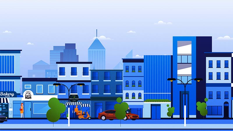 Still from cross-border payments video features an illustration of a city street.