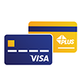 An illustration of a payment card with a Visa logo in front and a Plus Alliance logo in the back.