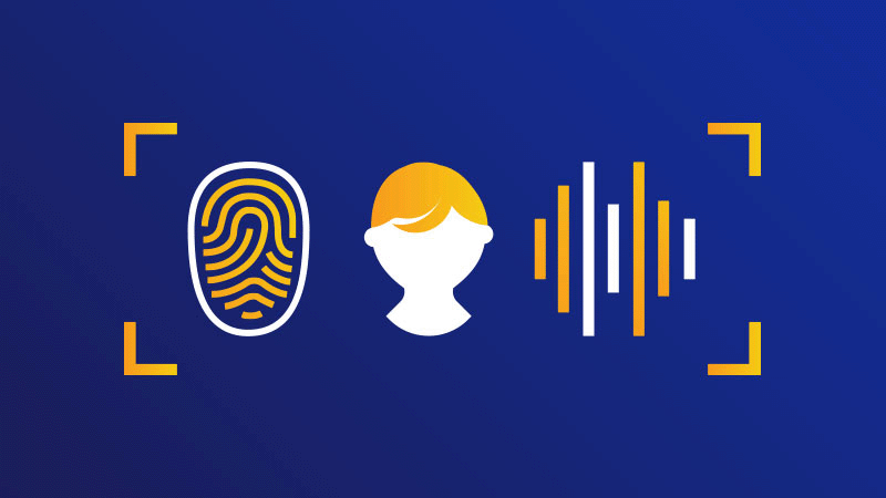 An illustration that depicts the relationship between a customer, the fingerprint, and biometrics.