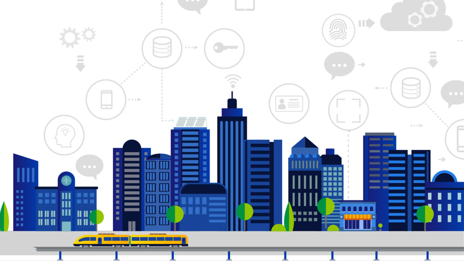An illustration of a city and icons depicts a variety of places that digital authentication can be used.