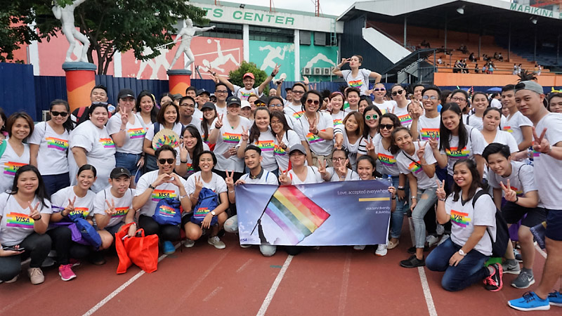 visa employees at the philippines pride parade