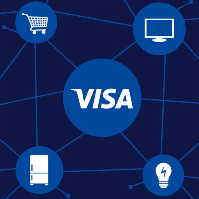 Illustration showing how Visa is connected to the Internet of Things with lines connecting to a shopping cart, television, fridge, and lightbulb.