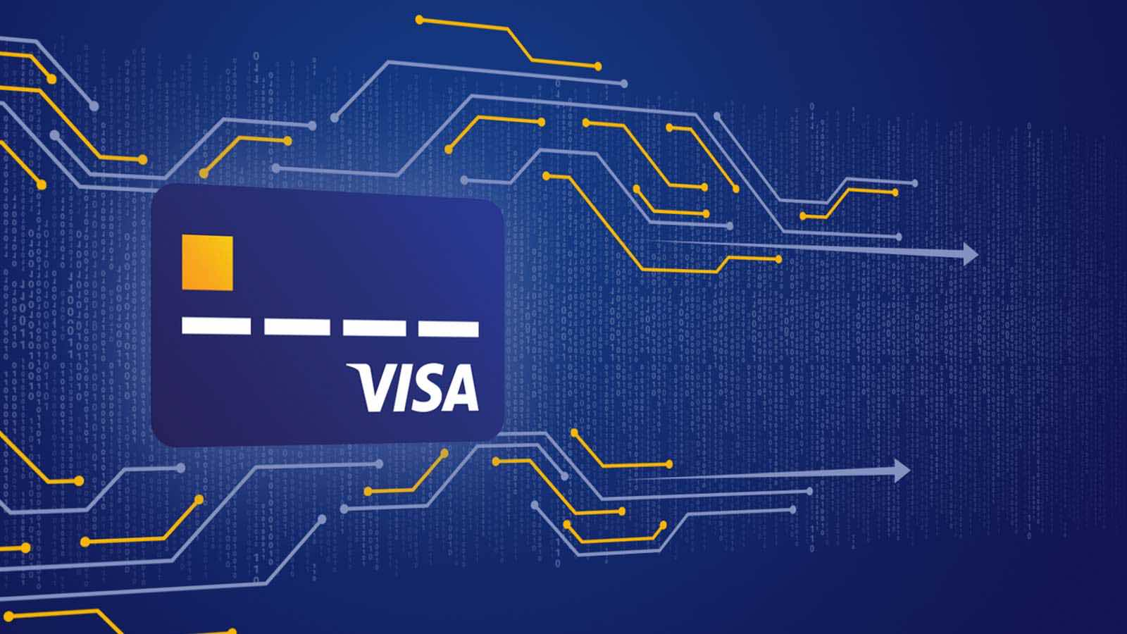 Visa card against blue background.