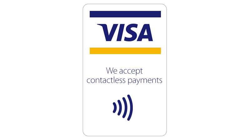 "Top down: Full-color POS Graphic followed by text ""We accept contactless payments"" followed by contactless indicator logo."