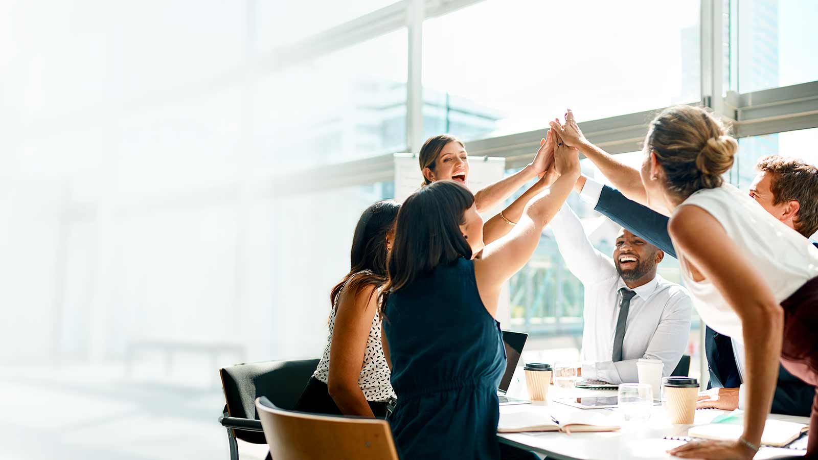 An excited group of people high five each other at a conference table.