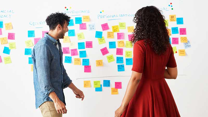 A pair of Visa employees review a white board full of sticky notes.