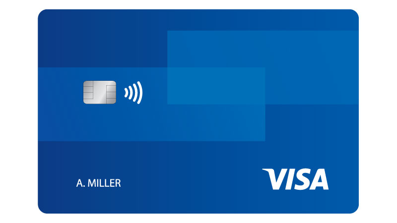 A Visa credit card showing the tap to pay logo.