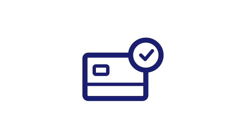 Illustration of a credit card with a checkmark on the top-right corner.