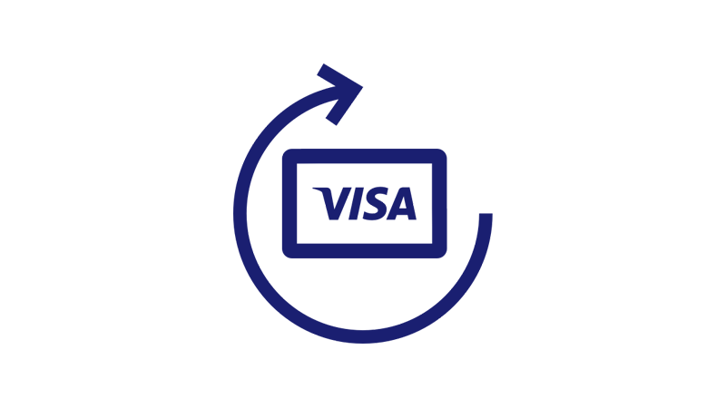 Illustration of a Visa card surrounded by a partial circular arrow.