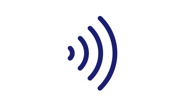 Contactless payment symbol.