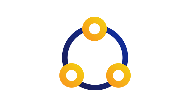 A large circle with three smaller yellow circles placed evenly along it to represent integration of services.