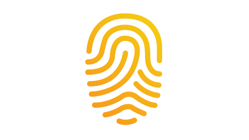 A yellow illustration of a fingerprint.