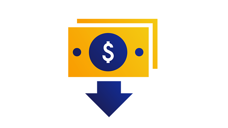 Illustration of a stack of bills with a blue arrow pointing down from them.