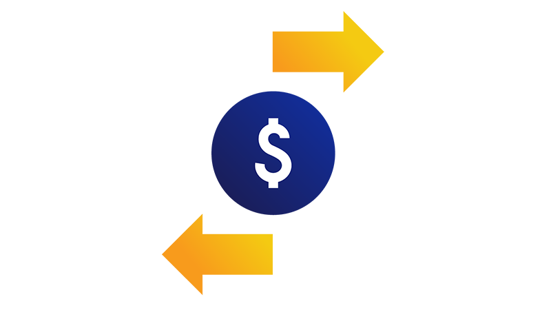 Illustration of a dollar sign in a blue circle with a yellow arrow above it pointing right and a yellow arrow below it pointing left.
