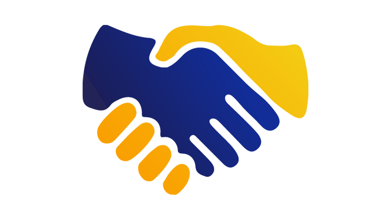 An illustration of a blue hand shaking a yellow hand.
