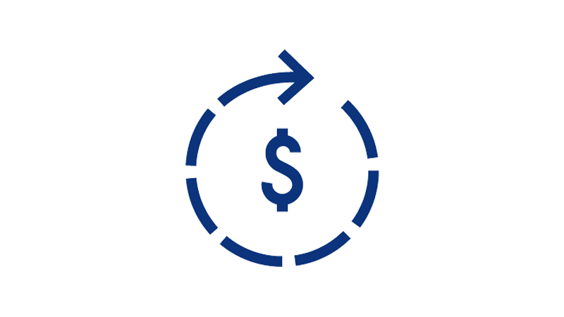 Illustration of dollar sign enclosed by a dotted circular arrow.