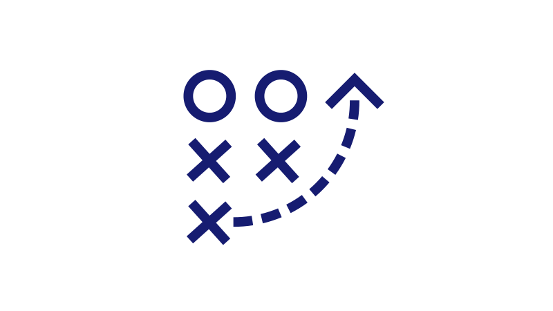 Illustration of a presentation board showing three X's, two O's, and a dotted line arrow curving right and up.