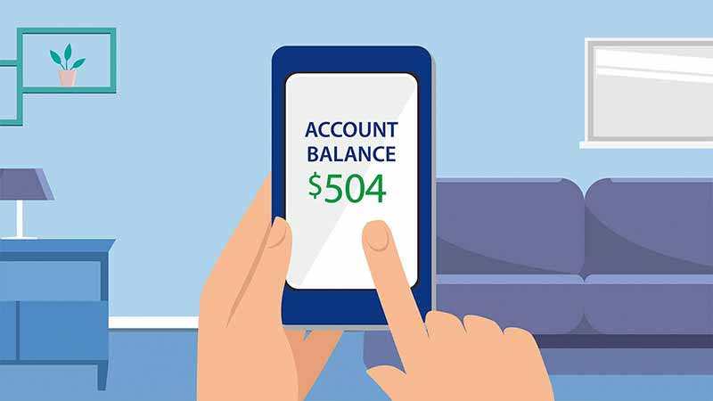 Illustration of hands holding a phone which displays text 'Account Balance $504'.