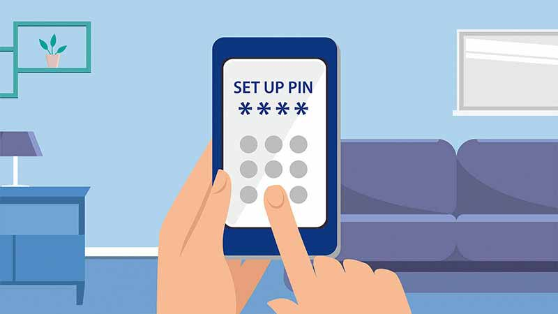 Illustration of a hand pressing numbers on a phone which displays text 'Set up PIN'.
