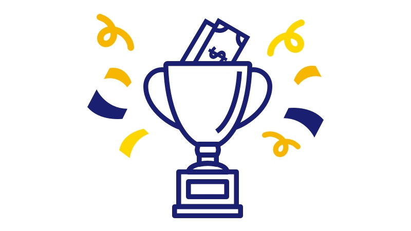 Illustration of a trophy cup filled with money and surrounded by confetti.